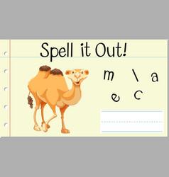 Spell english word camel vector