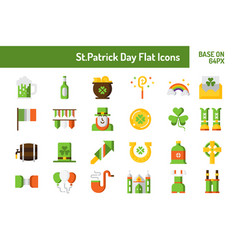 stpatricks day icon set flat icon base on 64 vector image