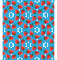 Strawberry pattern on light blue background vector image