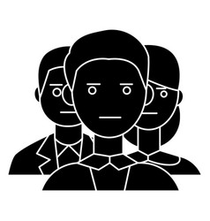 team business 2 man 1 girl icon vector image