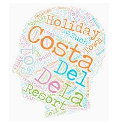 The costas of andalucia text background wordcloud vector