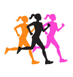 three silhouette of running women profile black vector image