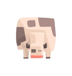 Toy Simple Geometric Farm Cow Facing Ground vector
