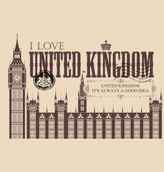 vintage postcard with big ben in london vector image