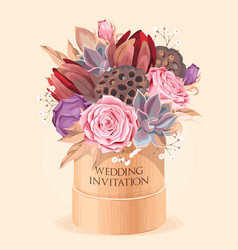 Vintage wedding card with flowers and succulents vector