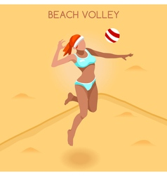 Volleyball Beach 2016 Summer Games 3D vector image