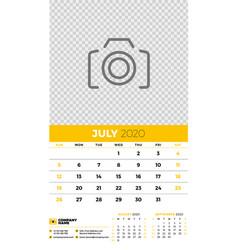 Wall calendar planner template for july 2020 week vector