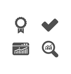 website statistics reward and tick icons data vector image