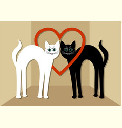 White cat and black tomcat in love two beautiful vector