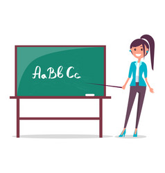 Young teacher and blackboard vector