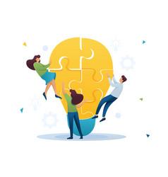 Young team creates an idea team work a young vector