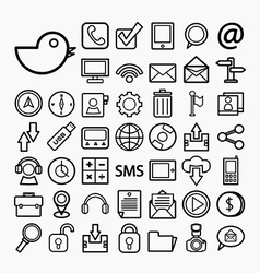 Communication and transportaion icon set vector image vector image