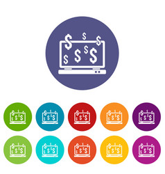 computer monitor and dollar signs set icons vector image