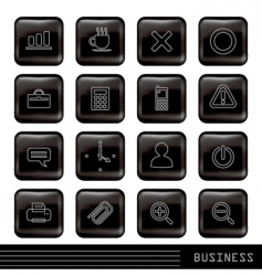 glossy black icons set vector image vector image