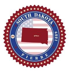 Label sticker cards of State South Dakota USA vector image