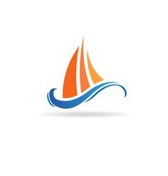 Marine boat waves image vector image vector image