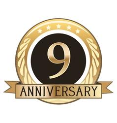 Nine Year Anniversary Badge vector image vector image