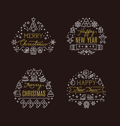 christmas holiday decorative emblems with vector image vector image