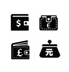 currency on wallet set vector image