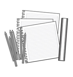 figure pencils color notebook and rule icon vector image