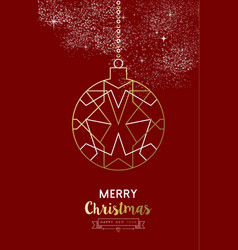 merry christmas new year bauble ball outline gold vector image