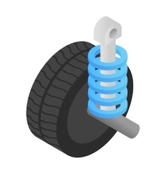 Wheel tire and shock absorber isometric 3d icon vector image