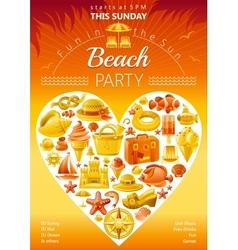 Beach party invitation in yellow color vector image