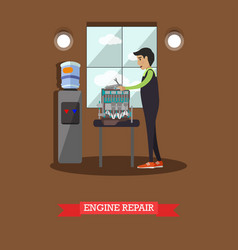 Engine repair concept in flat vector