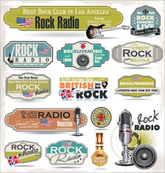 Rock music radio station labels vector image