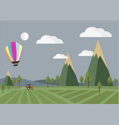 tractor in the field with balloon vector image vector image