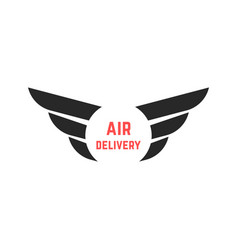 air delivery logo with black wings vector image