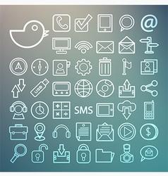 Communication and transportaion icon set Retina vector image