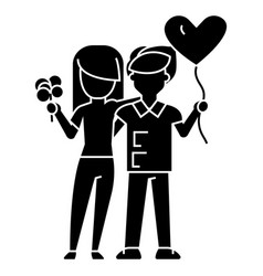 couple loving - with flowers and balloon icon vector image