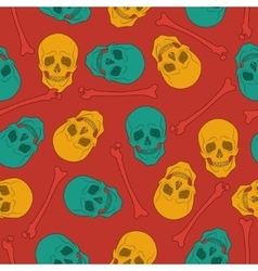 Multicolor seamless pattern with skulls vector image