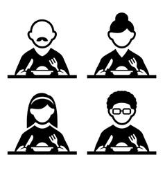 People eating tasting food pictogram icon set vector