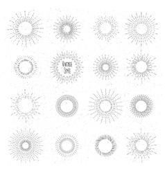 Retro hand drawn sunburst set Sun ray frames in vector image vector image