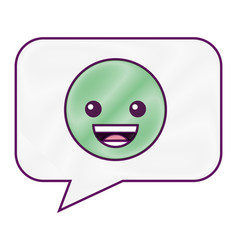 speech bubble smile emoticon face vector image