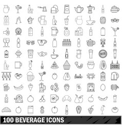 100 beverage icons set outline style vector image