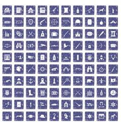 100 guns icons set grunge sapphire vector