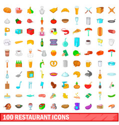 100 restaurant icons set cartoon style vector image