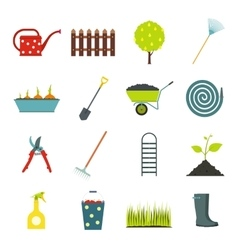 16 garden flat icons set vector image