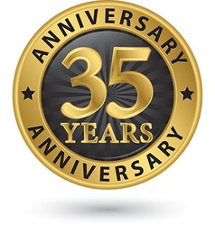 35 years anniversary gold label vector image