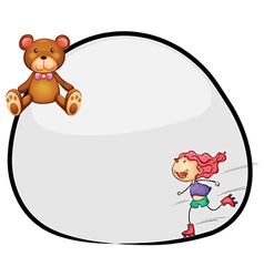 A round template with a young girl rollerskating vector image