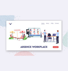 Absence workplace landing page template upset vector
