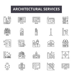 architechtural services line icons signs vector image