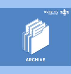 Archive icon isometric template for web design vector
