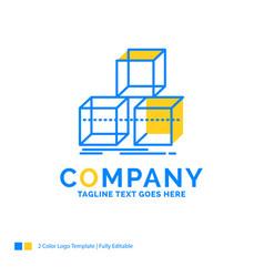 Arrange design stack 3d box blue yellow business vector