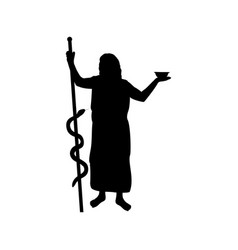 Asclepius god medicine silhouette ancient vector