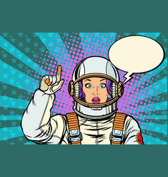 Astronaut woman attention gesture caution warning vector