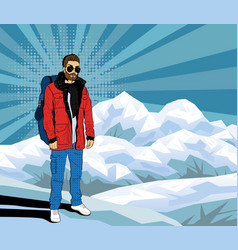 bearded hipster man on the top of rock pop art vector image